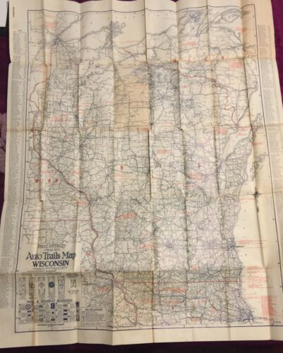 "Vintage1924 Rand McNally Wisconsin Auto Trails Map Folding 34""x27"""
