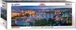 "AirPano 1000 of Euro graphics Jigsaw Puzzle Prague Czech Republic 13"" X 39"" - $19.00"