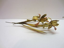 Vtg Brass tin Metal Iris Flower Homco Sculpture - $17.95