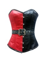 Red Black Satin Leather Belt Gothic Steampunk Bustier Burlesque Overbust... - $64.94