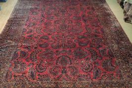 Red Sarouk Persian Wool Handmade Rug 11' x 18' Vivid Red Detailed Original Rug image 12