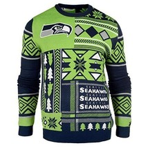 Laid Noël Pull NFL Seattle Seahawks Patchs Football Vacances Noël Ras - $50.06