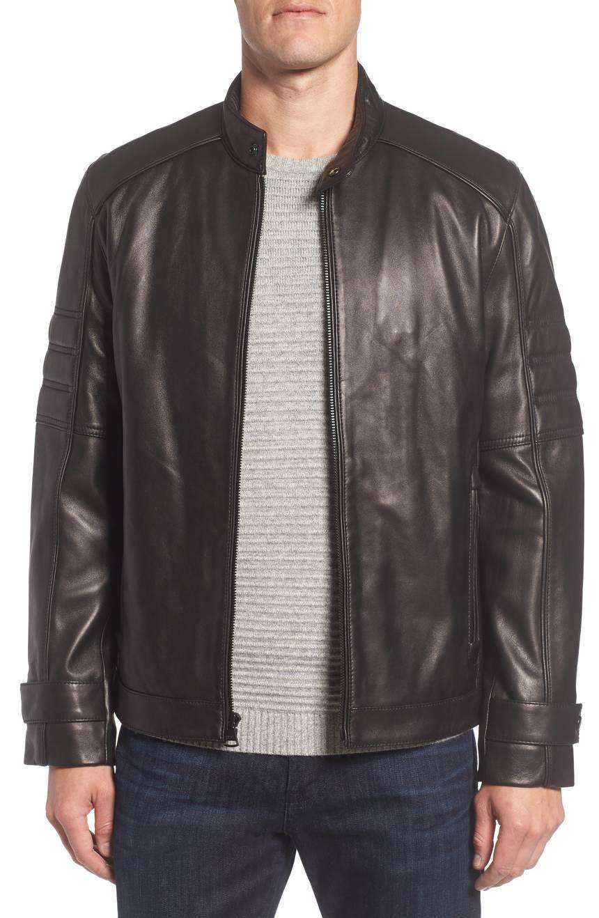New Stylish Belted Cuff Men's Genuine Soft Leather Jacket Slim fit Biker jacket
