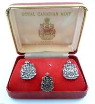 Vintage 1960s ROYAL CANADIAN MINT Sterling CUFFLINKS & TIE TAC Set in Or... - $145.00