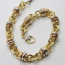 18K White, Rose & Yellow Gold Bracelet Alternate Triple Circle, Rolo Link, Hoop - $983.25