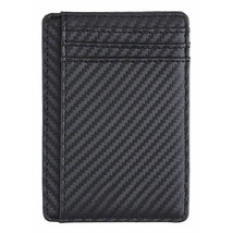 Men RFID Blocking Carbon Fiber Leather Wallet Short Purse Credit Card Ho... - $19.10