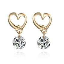 Gold Rhinestone Heart Shaped Ear Pins Zircon Eardrop Crystal Earrings - $4.77