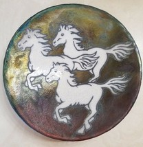 Outer Banks OBX North Carolina Pottery Wild Horses Bowl Signed - $39.99