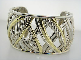 David Yurman Wide Papyrus Cuff Bracelet Sterling Silver and 18k Yellow Gold - $2,447.49