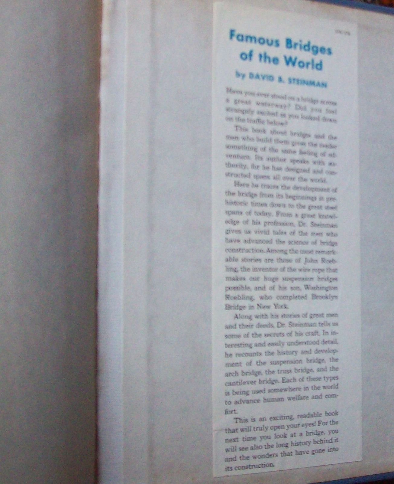 Famous Bridges of the World by David B. Steinman 1953 HB
