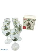 "Set of Seven  (7) Spode Christmas Tree 7"" All Purpose Wine Glasses Gold Rim - $33.24"