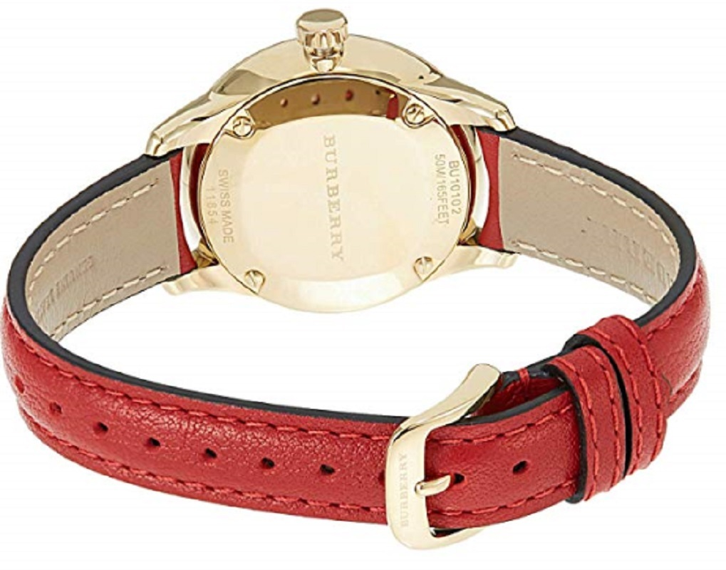 NWT *AUTHENTIC* Burberry BU10102 Women's Swiss Red Leather Strap Watch image 2