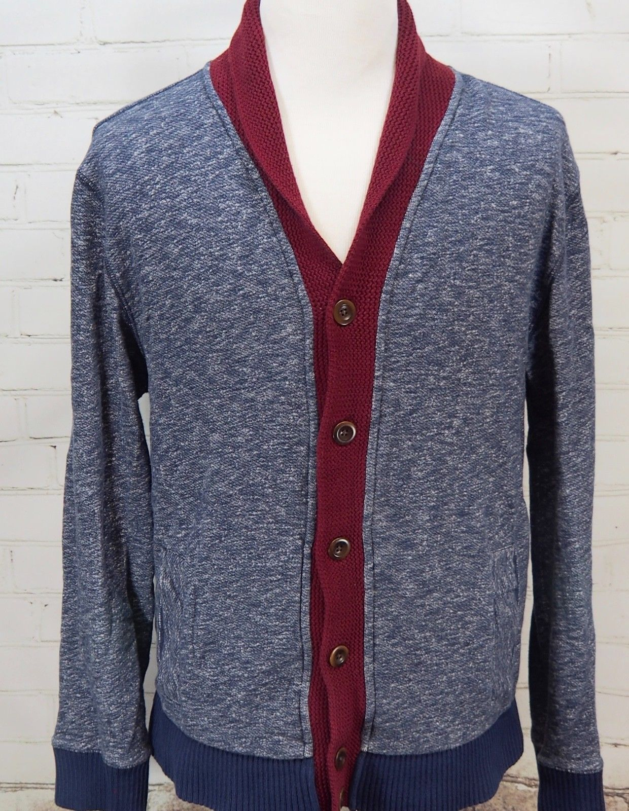 8cbd35a48a01 57. 57. Previous. TOMMY HILFIGER Men s Shawl Collar Cardigan Sweater Navy  Blue Marl Knit XL Cotton