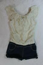 My Michelle Girls Romper Size 10 White Crochet Lace Denim Shortset Sprin... - $22.76