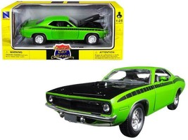 1970 Plymouth Cuda Green with Black 1/25 Diecast Model Car by New Ray - $28.37