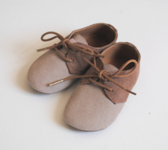 Fox & Molly Baby Leather Oxfords Shoes Two-Tone Brown Cream Laces Bluche... - $25.00