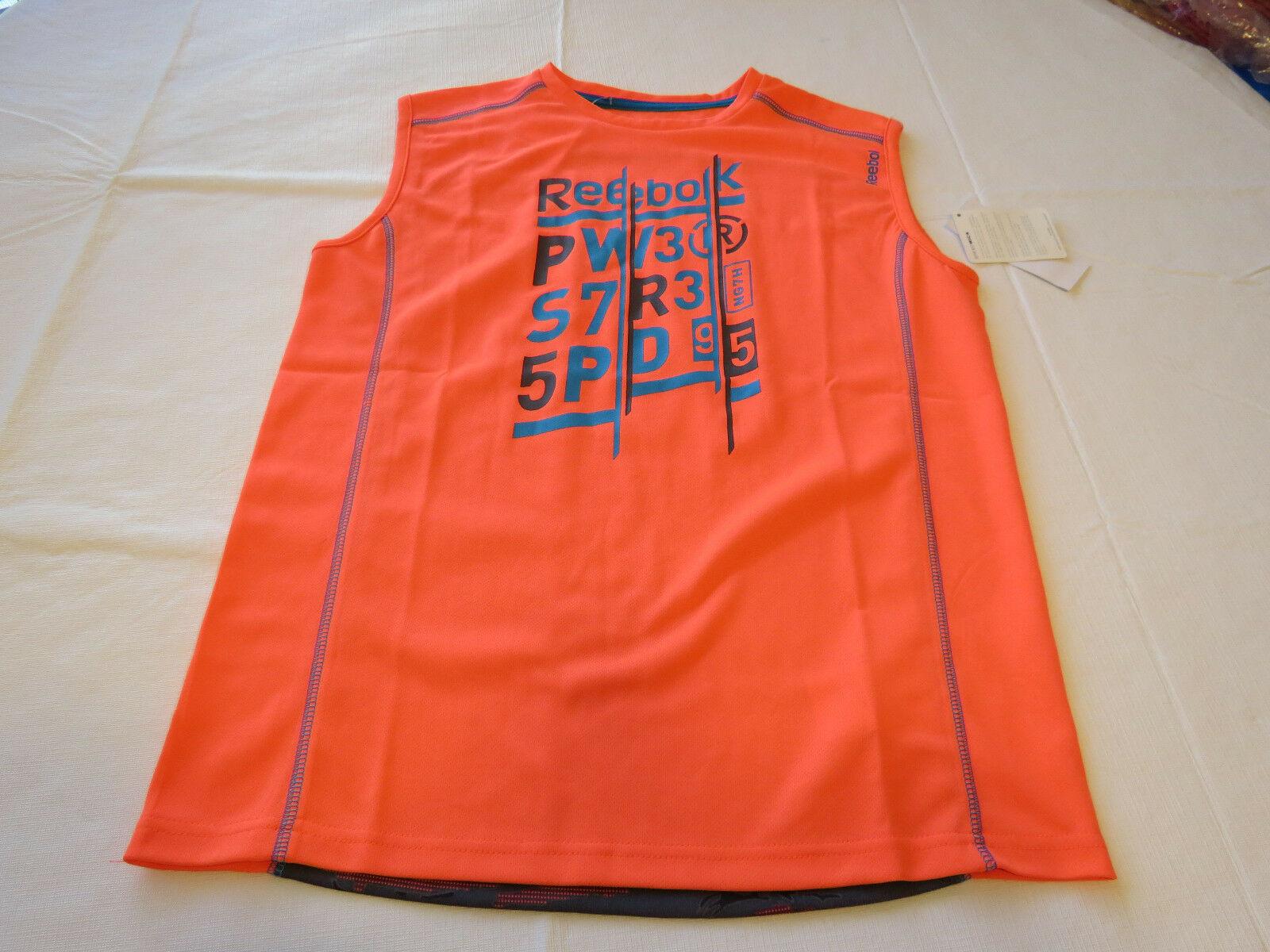 Boys youth Reebok surf skate L muscle tank top shirt 820 neon orange vqxm61538