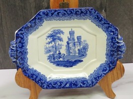 Antique Blue Staffordshire Transferware CASTLE Trivet Tray Sauce Under Plate - $49.50