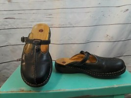 Clarks Unstructured Strap Mules Clogs Black Leather Womens Shoe Size 8 S... - $18.49