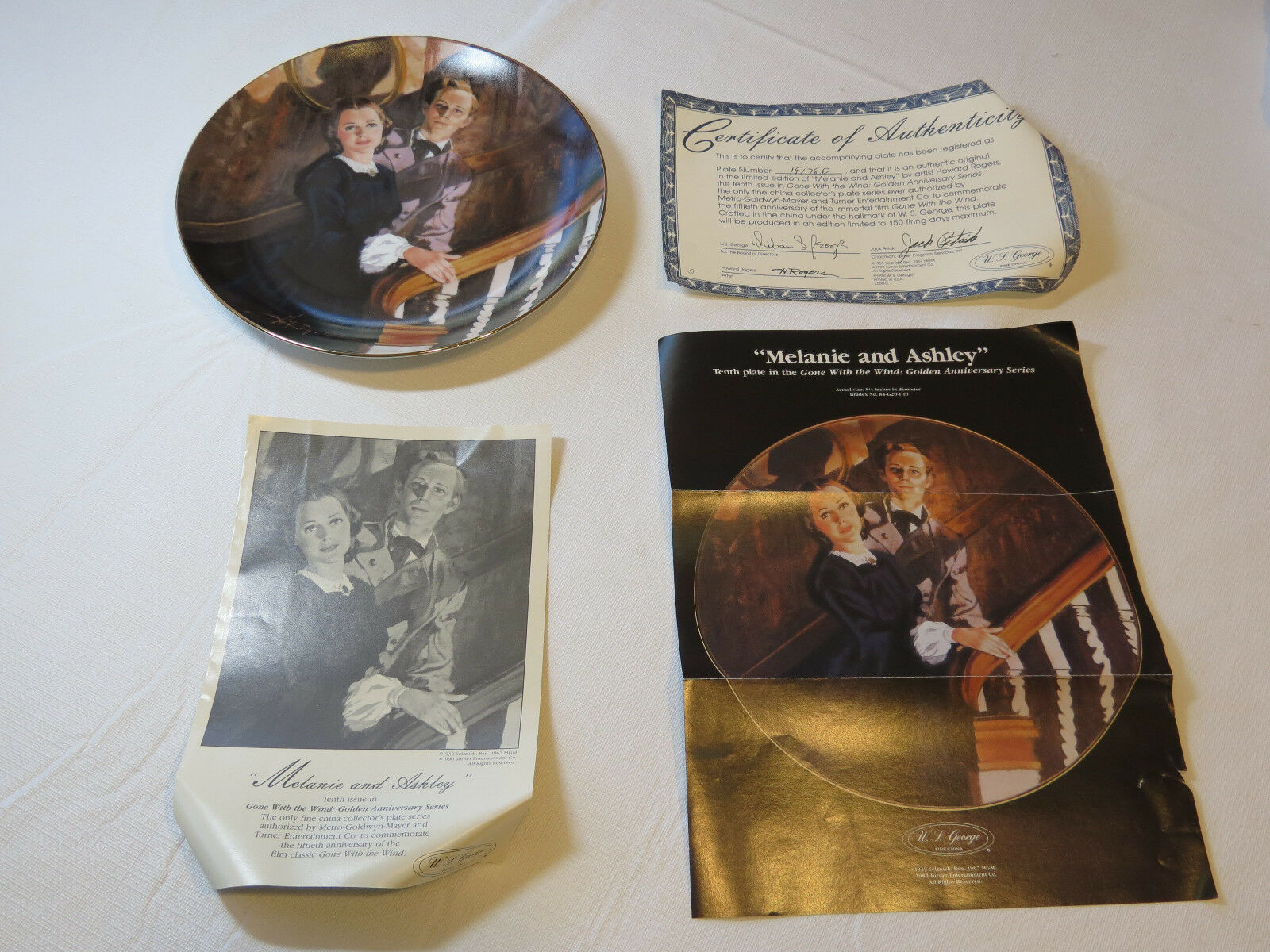 Primary image for Gone With The Wind Melanie & Ashley COA 1989 Collector Plate Golden Anniver #%