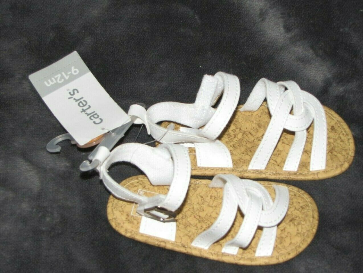 Baby Girl Carter's White Strappy Sandals Soft Sole Size 9-12 M Easter Church NEW