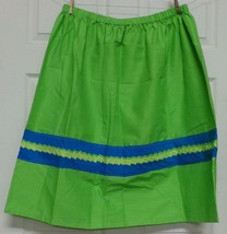 Native American Patchwork Skirt XL Women Dance Lime Green Blue NEW HandMade - $65.00