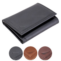 Nautica Men's Genuine Vintage Leather Credit Card Id Trifold Wallet