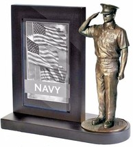 US Navy Chief Bronze Cast Resin Statue With Black Base Photo Frame  - $49.49
