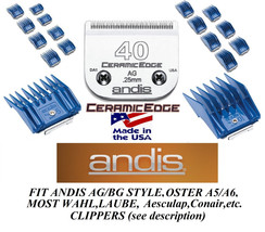 ANDIS 17pc Guide ATTACHMENT COMB SET&CeramicEdge 40 BLADE*Fit Many Oster... - $94.99