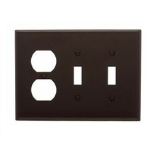 Lot of 5 Eaton Wiring 3-Gang Combo Wall Plate Mid-Size 2 Toggles & Duple... - $7.91