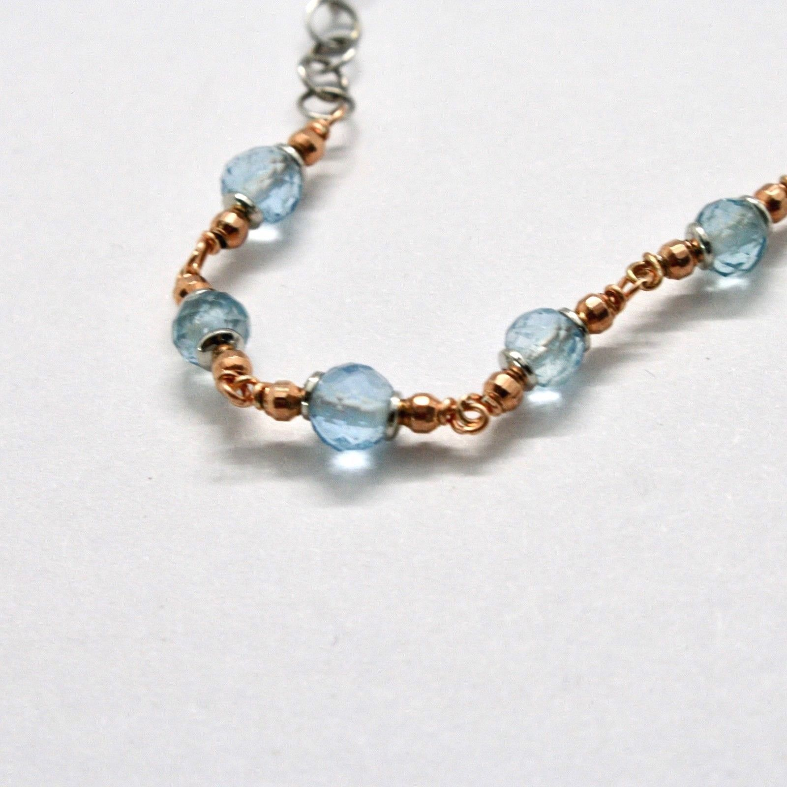 Silver Bracelet 925 Laminated in Rose Gold with Aquamarine and Zircon Cubic image 6
