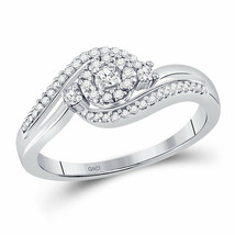10kt White Gold Womens Round Diamond Cluster Promise Bridal Ring 1/5 Cttw - £241.28 GBP