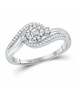 10kt White Gold Womens Round Diamond Cluster Promise Bridal Ring 1/5 Cttw - £237.83 GBP