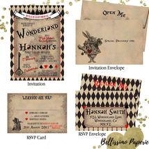 Alice in Wonderland Invitation RSVP Set Birthday Sweet Sixteen Quinceanera - £1.00 GBP