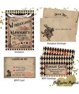 Alice in Wonderland Invitation RSVP Set Birthday Sweet Sixteen Quinceanera - $1.75