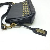 Badgley Mischka Black Leather Gold Stud Crossbody Shoulder Bag Purse image 3