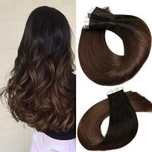 Tape In Hair Extensions Human Hair Balayage Ombre Hair 20pcs/50g Per Set Natural