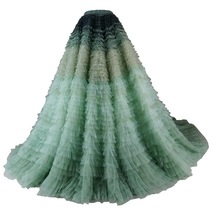 Women Tiered Maxi Tulle Skirt Wedding Bridal Train Skirt Outfit Evening Skirts image 9