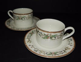 2 Wellesley by Farberware 486 Flat Cups & Saucers Katherine Babanovsky Stoneware - $24.74