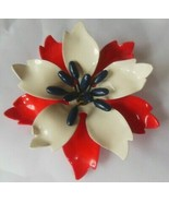 Vintage Red White & Blue Enamel Metal Flower Brooch  - $24.26