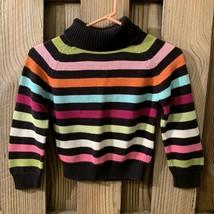 Gymboree Girls Size 7 Brown Pink Green Striped Retro Sweater Turtleneck Cotton - $4.90