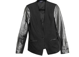 Madewell Leather Sleeve Blazer 12 B1655 Black Jacket - $91.99