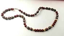 "Vintage 22"" Cloisonne & Agate 14K Gold Bead Necklace #6238 - $149.00"