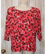 Womens Pretty Preach Red Floral Laura Ashley 3/4 Sleeve Shirt Size 2X ex... - $7.91