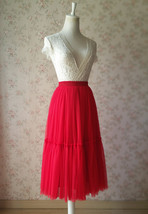 RED MIDI Tulle Skirt Red Wedding Bridesmaid Midi Skirt Custom Size Tulle Skirt