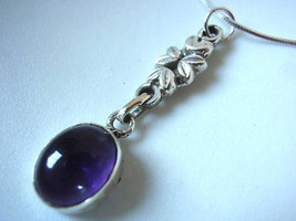 Amethyst Floral Stem 925 Sterling Silver Necklace New - $28.08