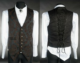 Brown Black Brocade Steampunk Vest Victorian Gothic Corset Lace Up Waist... - $64.99