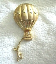 "Vintage AJC Hot Air Balloon Gold Tone 3"" Pin Brooch Articulated signed - $12.86"