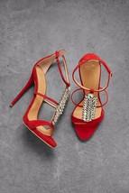 GIUSEPPE ZANOTTI Coline crystal embellished red suede sandals shoes 35 3... - €552,83 EUR