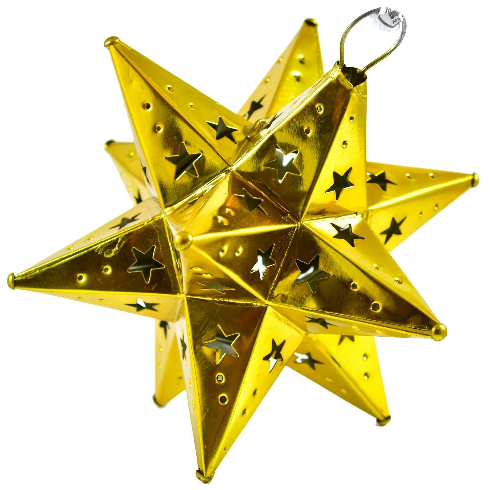 "Small 6.5"" Hanging Tin Yellow Gold Mexican Moravian Star Ornament Decoration"